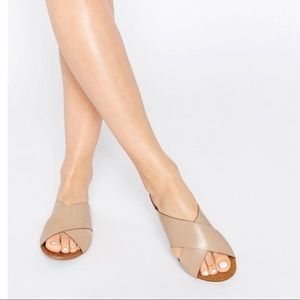 ASOS Pieces Italy Nude Crossover Leather Sandals